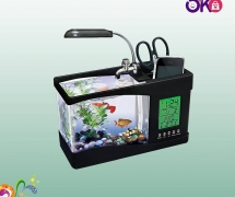 USB Desktop Aquarium With Digital Clock