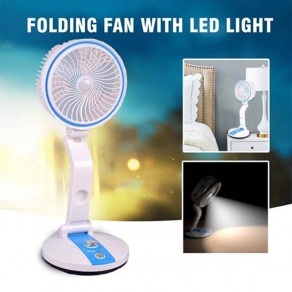 Rechargeable Multi Functional Folding Desk Fan with LED Lamp