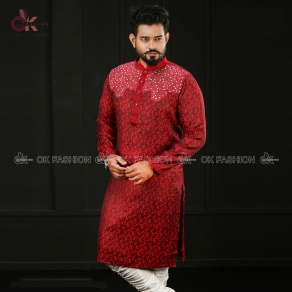 Red Color Embroidered Men's Semi Long Panjabi